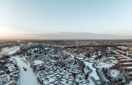 aerial view on beautiful winter sunset in Berlin Zdjęcie Seryjne