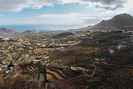 aerial drone image of beautiful stunning landscape view on Tenerife Canary Islands, Canaries Spain