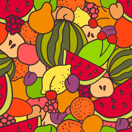Fresh and juicy summer seamless pattern of fruits and berries