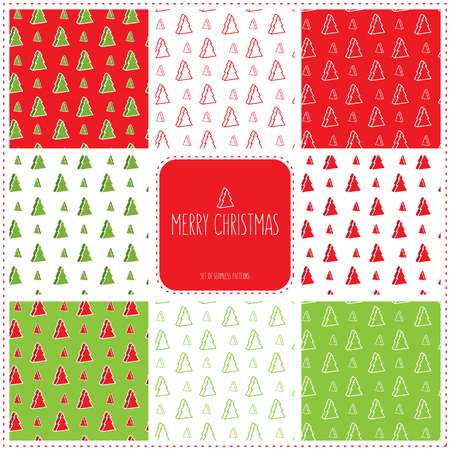 Set of 8 Christmas-tree seamless patterns Vector