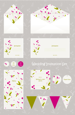 Wedding invitation, thank you card, save the date cards. Cute and elegant editable wedding set. Illustration