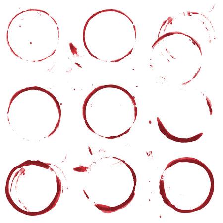 tomando vino: Mancha de vino rojo sobre fondo blanco. Vector conjunto de 9 manchas vaso o taza redondas.