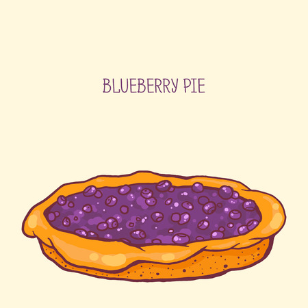 blueberry pie: colorful vector illustration of tasty blueberry pie
