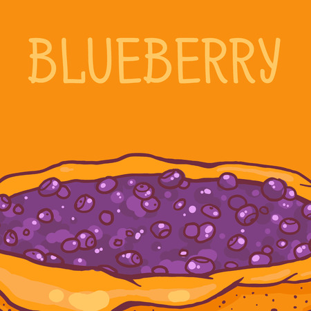 tasty: colorful vector illustration of tasty blueberry pie