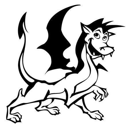 Netter Comic-Drachen. Illustration Für Malbuch Lizenzfrei Nutzbare ...