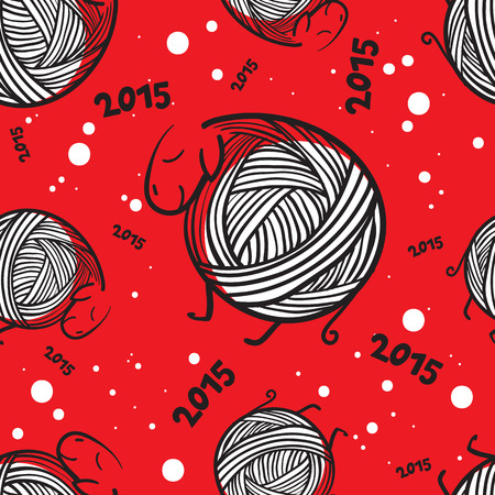 seamless pattern with funny knitting christmas sheep and snowflakes Vector