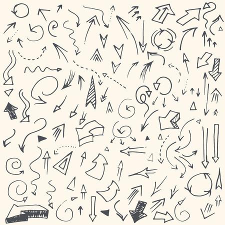 flechas direccion: Flechas dibujadas a mano simples vendimia perfecto hecho en vector. Elemento de diseño de negocios totalmente editable.
