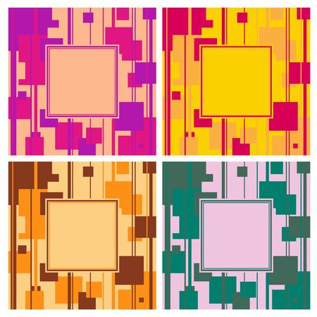 quadrati astratti: set di 4 luminoso geometrica piazza abstract background