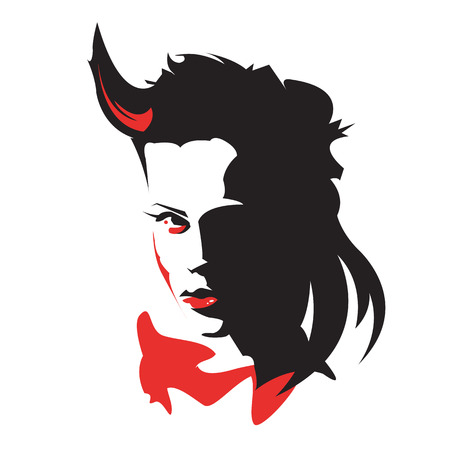 bad woman: Red and black  vector head of demon girl Illustration
