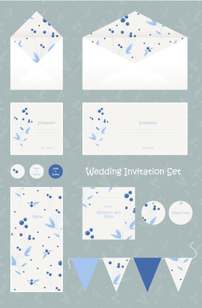 thank you cards: Wedding invitation, thank you card, save the date cards. Cute and elegant editable wedding set. Illustration
