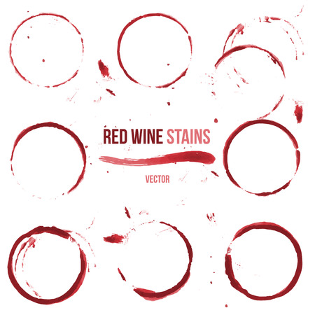 ink stain: Red wine stain on white background. Vector set of 9 round glass or cup stains.