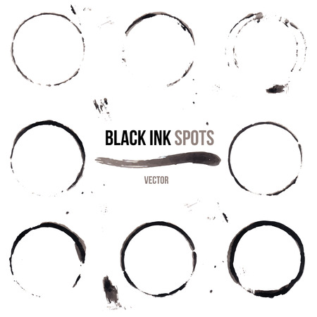 set of grunge black ink spots