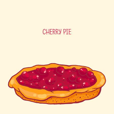 tarte aux cerises: color� illustration vectorielle de savoureuse tarte aux cerises Illustration