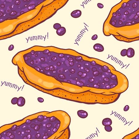 Colorful seamless pattern with tasty blueberry pie Vector
