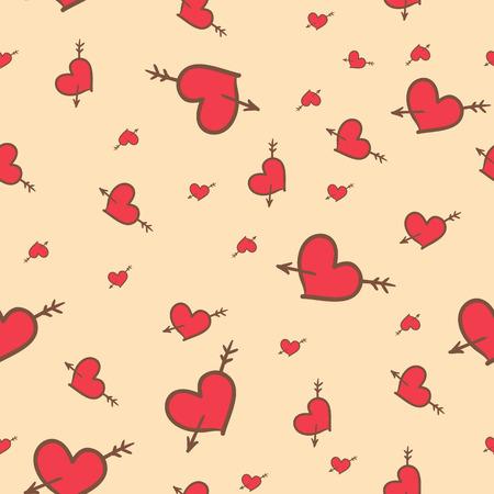 saint valentine: Hand-drawn Saint Valentine seamless pattern of hearts
