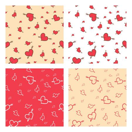 amore: Set of hand-drawn Saint Valentine seamless pattern of hearts Illustration