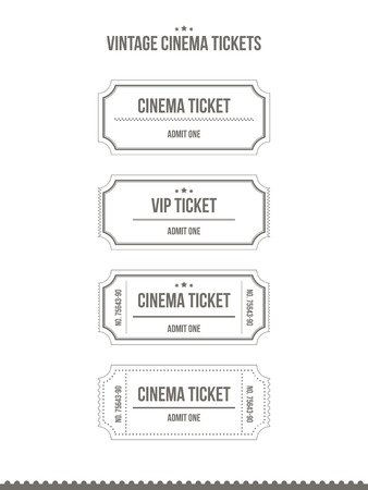 Set of vintage paper cinema tickets. Vector illustration.