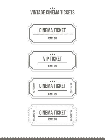 빈티지 종이 영화 티켓의 집합입니다. 벡터 일러스트 레이 션.