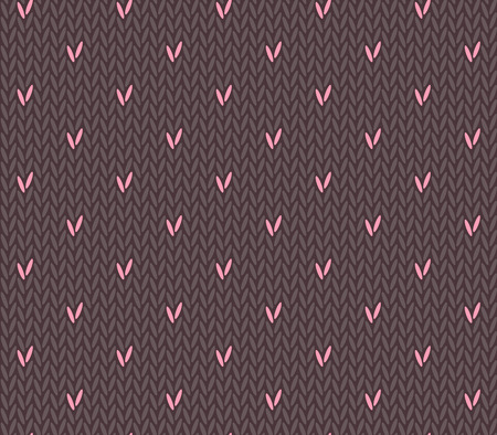 Saint Valentines Day seamless knitting pattern with hearts Vector