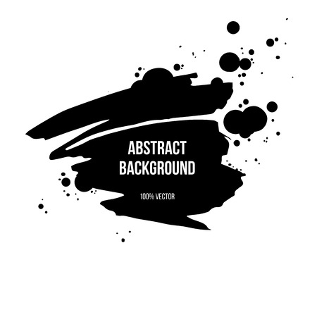 Black ink grunge banner isolated on white background. Vector illustration