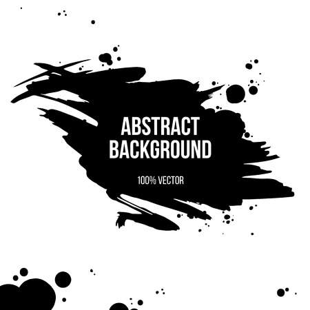 paint splat: Black ink grunge banner isolated on white background. Vector illustration