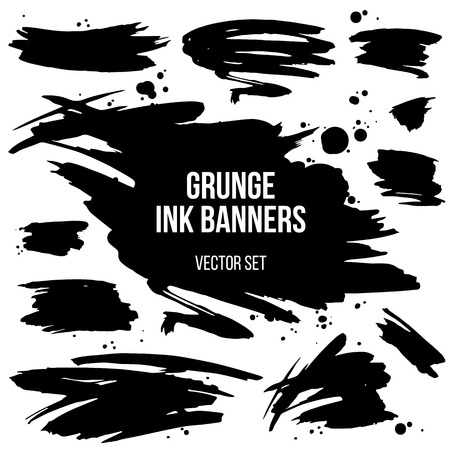 spatters: Abstract isolated grunge spots and banners. Grouped by objects and easy to use and recolor.
