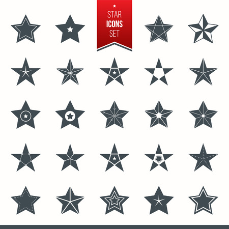 Vector set of star icons. Set of isolated star pictogram. Vector