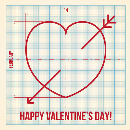 fibonacci number: Original and creative Valentines Day greeting card on graph paper background