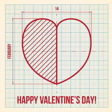 logarithmic: Original and creative Valentines Day greeting card on graph paper background