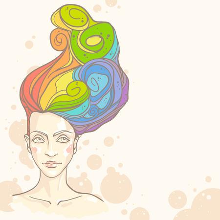 rainbow colours: Concept of women head with rainbow hair. Vector illustration