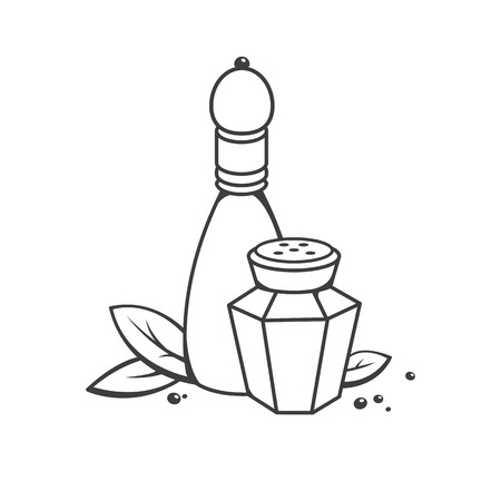 shakers: Salt and pepper in retro style. Vector illustration. Illustration