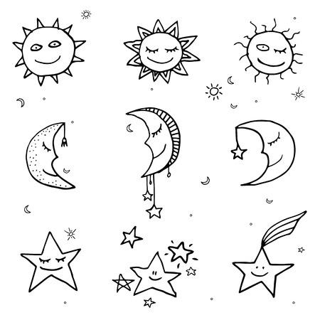 De leuke en grappige zon, maan en sterren doodle pictogrammen. Vector set Stock Illustratie