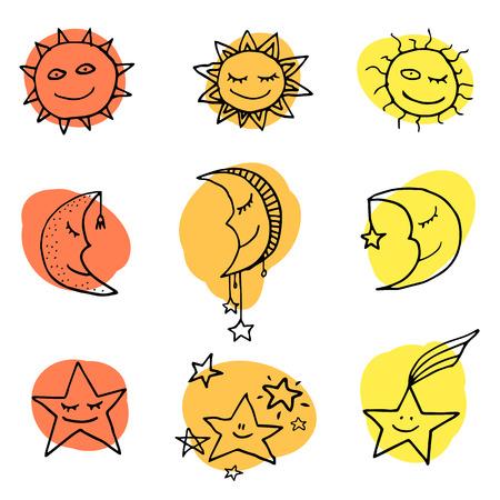 luna caricatura: Sol, la luna y las estrellas lindas y divertidas iconos doodle. Vector conjunto Vectores