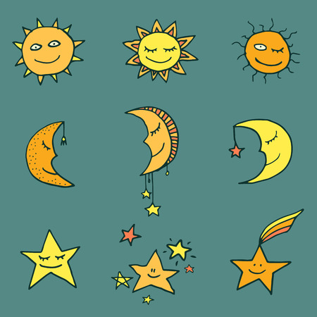 Cute and funny sun, moon and stars doodle icons. Vector set 일러스트