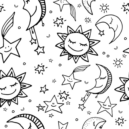 Cute and funny seamless vector space pattern with sun, moon and stars.