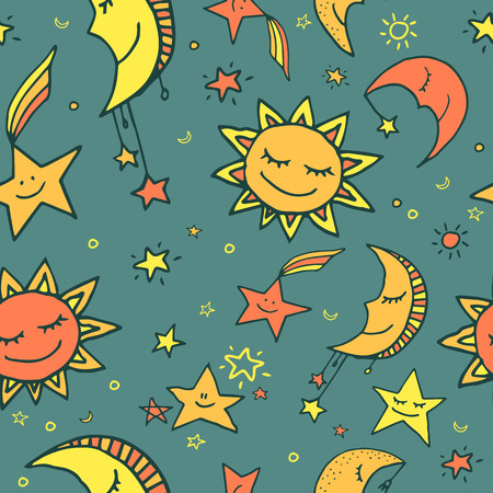 Cute and funny seamless vector space pattern with sun, moon and stars. Vector