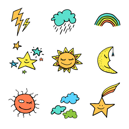 Full color cute and funny doodle style weather icons set 일러스트