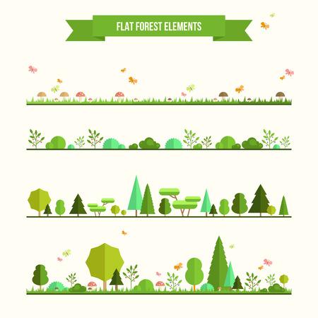 � spring: Juego de moda y hermoso de elementos forestales planas. Incluya hierba, setas, bayas, arbustos y �rboles Vectores