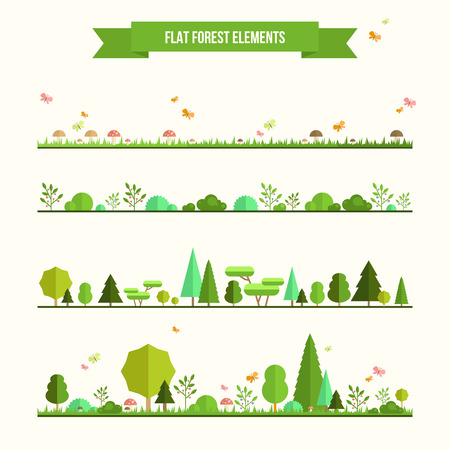spring summer: Trendy and beautiful set of flat forest elements. Include grass, mushrooms, berries, bushes and trees