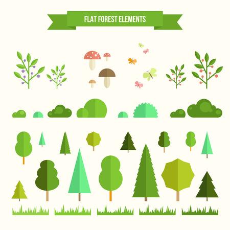 Set alla moda e bella di elementi forestali piani. Includere erba, funghi, frutti di bosco, cespugli e alberi