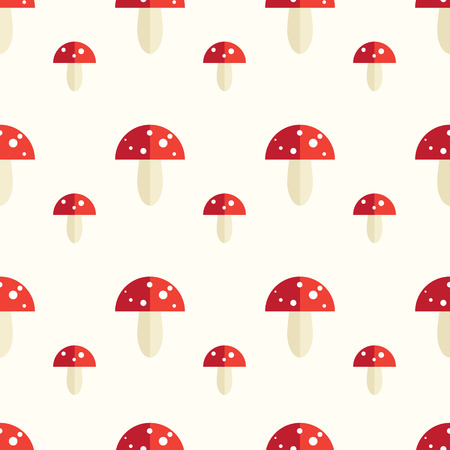 toxic mushroom: Seamless pattern with toxic amanita mushrooms. Fly-agaric background.