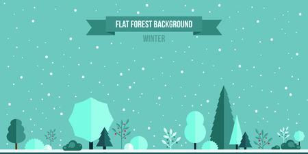 겨울 숲 평면 배경. 디자인을위한 간단하고 귀여운 풍경 스톡 콘텐츠 - 36642312