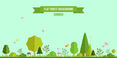 táj: Nyári erdő lapos háttérben. Egyszerű és aranyos táj a tervezési Illusztráció