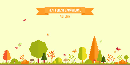 scene: Autumn forest flat background. Simple and cute landscape for your design
