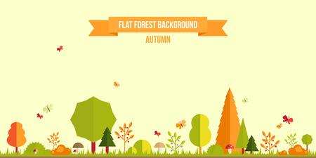 animales del bosque: Bosque de otoño de fondo plano. Simple paisaje y lindo para su diseño Vectores