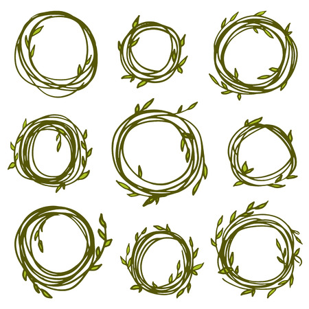 Original vintage frames - set of 9 hand drawn branches. Retro wreath for your design