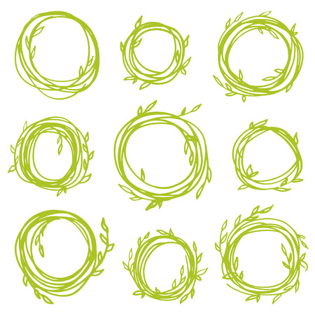 Original vintage frames - set of 9 hand drawn branches. Retro wreath for your design Vector