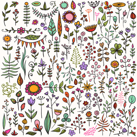 really: More than 100 creative color floral elements. Really big hand-drawn set of different flowers, leafs, berries, and other nature elements. Illustration