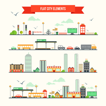 Great set with city elements for creating your own map. Map elements for your pattern, infographic, web site or other type of design. Vector