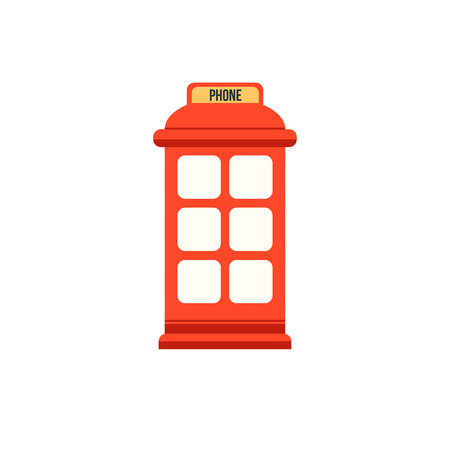 stereotypes: English red phone booth. Flat style vector icon Illustration
